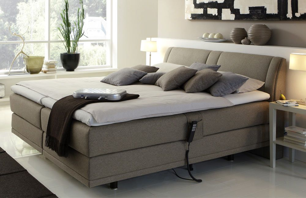 femira couture boxspringbett mit motor in taupe m bel letz ihr online shop. Black Bedroom Furniture Sets. Home Design Ideas