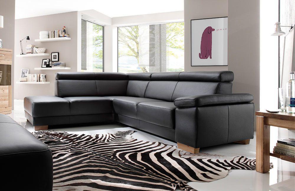 Ledercouch schwarz kaufen  DFM Santiago Ledergarnitur schwarz | Möbel Letz - Ihr Online-Shop