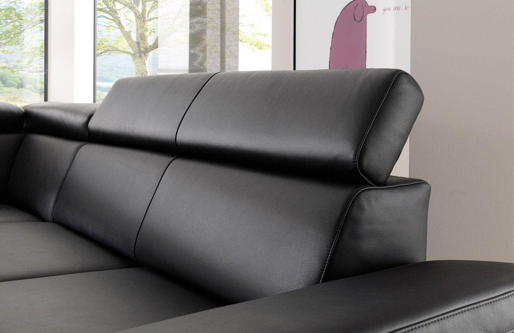 Ledercouch schwarz  DFM Santiago Ledergarnitur schwarz | Möbel Letz - Ihr Online-Shop