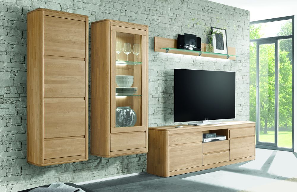 wohnwand 1 n bozen 1161 921 85 eiche bianco von inter furn m bel letz ihr online shop. Black Bedroom Furniture Sets. Home Design Ideas