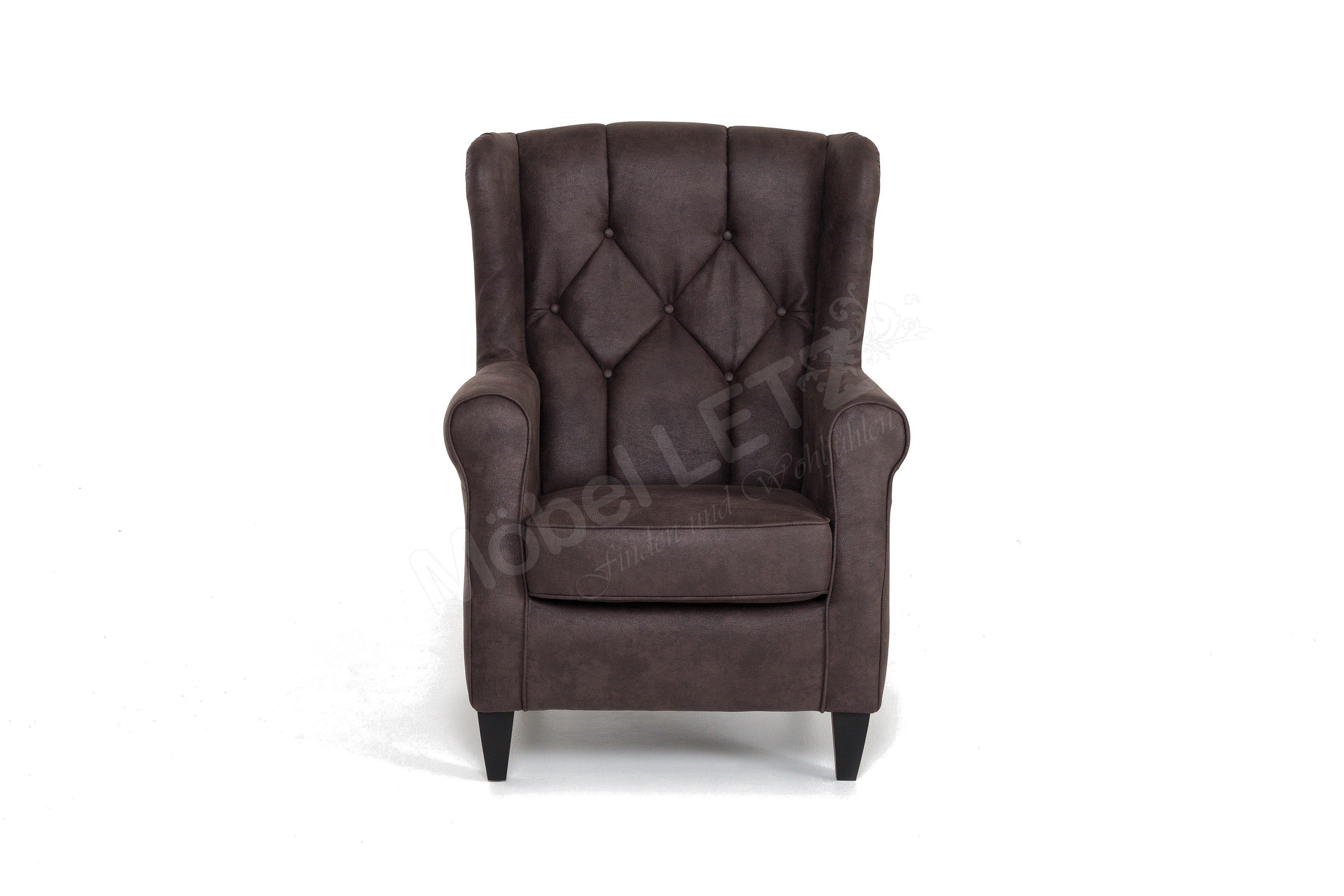 dfm polsterm bel sherman sessel in braun m bel letz ihr online shop. Black Bedroom Furniture Sets. Home Design Ideas