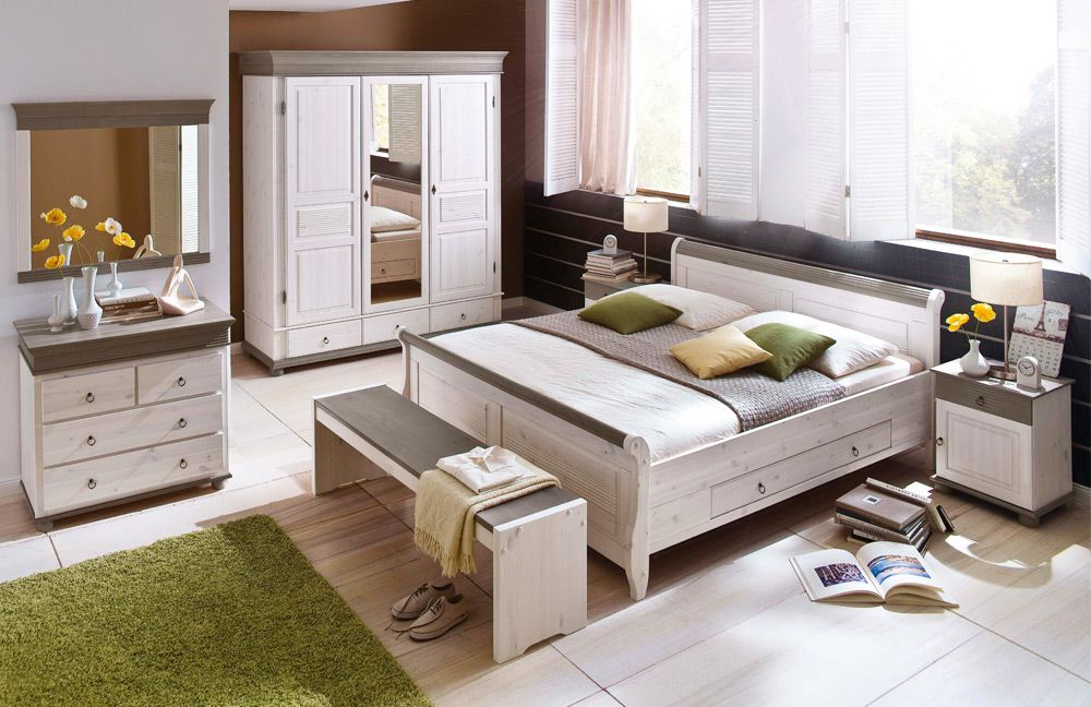 landhaus schlafzimmer komplett weiss pinie. Black Bedroom Furniture Sets. Home Design Ideas