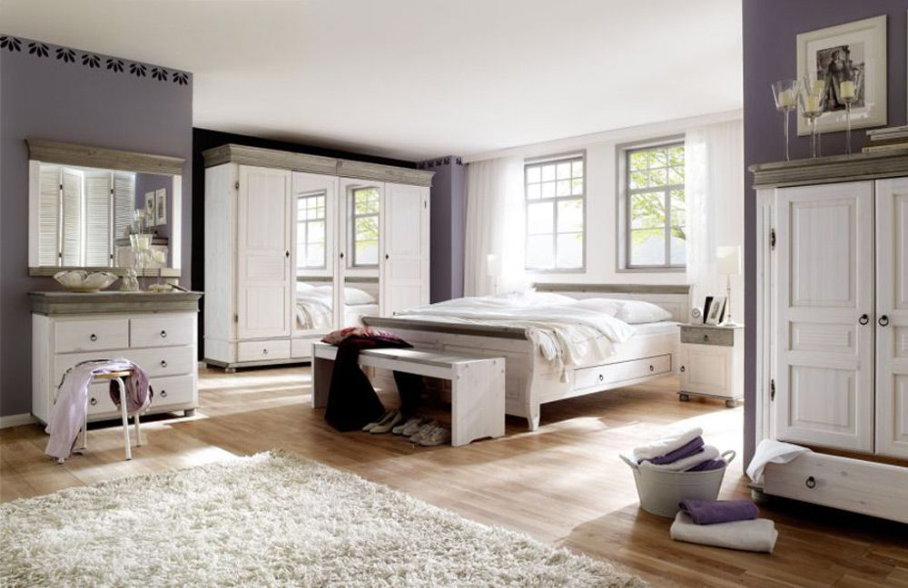 landhausstil schlafzimmer valencia massivholz wei e26s. Black Bedroom Furniture Sets. Home Design Ideas