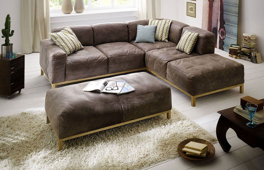 ledersofa braun lounge. Black Bedroom Furniture Sets. Home Design Ideas