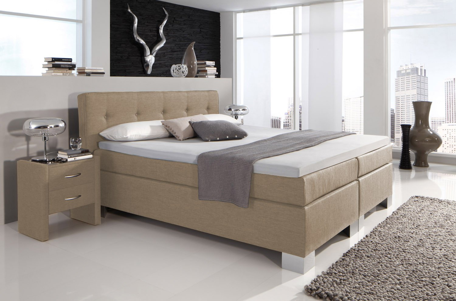 boxspringbett boston von hapo schlafm bel in beige m bel letz ihr online shop. Black Bedroom Furniture Sets. Home Design Ideas