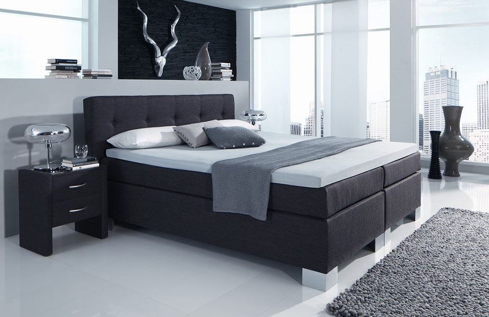 boxspringbett boston von hapo in anthrazit ca 180 x 200 cm m bel letz ihr online shop. Black Bedroom Furniture Sets. Home Design Ideas