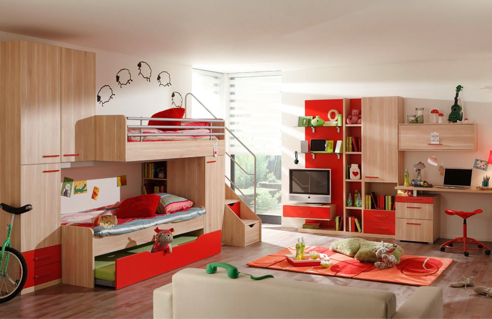 Prenneis jugendzimmer e t two plus absetzung rot m bel for Jugendzimmer rot