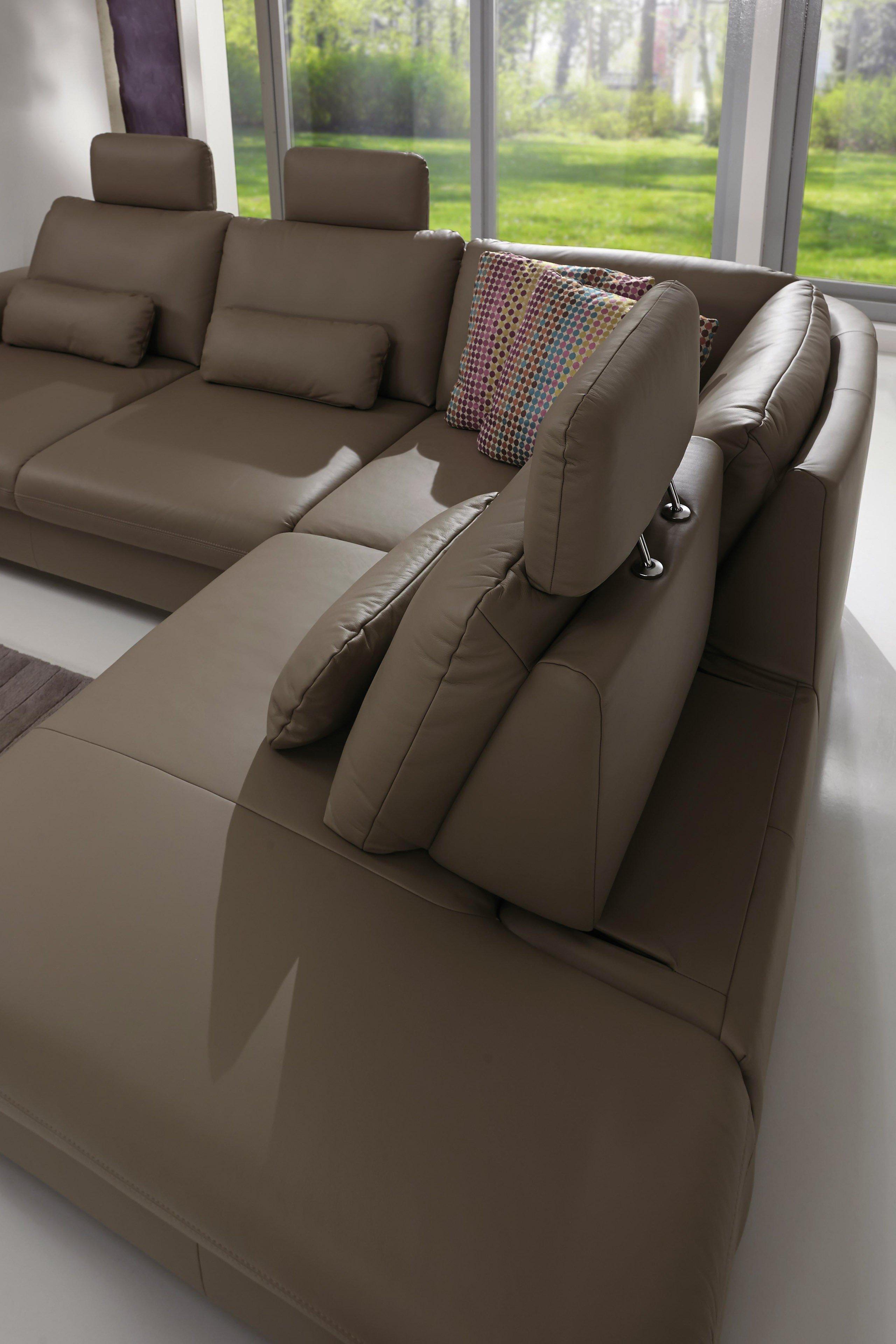 polinova polsterm bel whitney l ledersofa grau m bel letz ihr online shop. Black Bedroom Furniture Sets. Home Design Ideas
