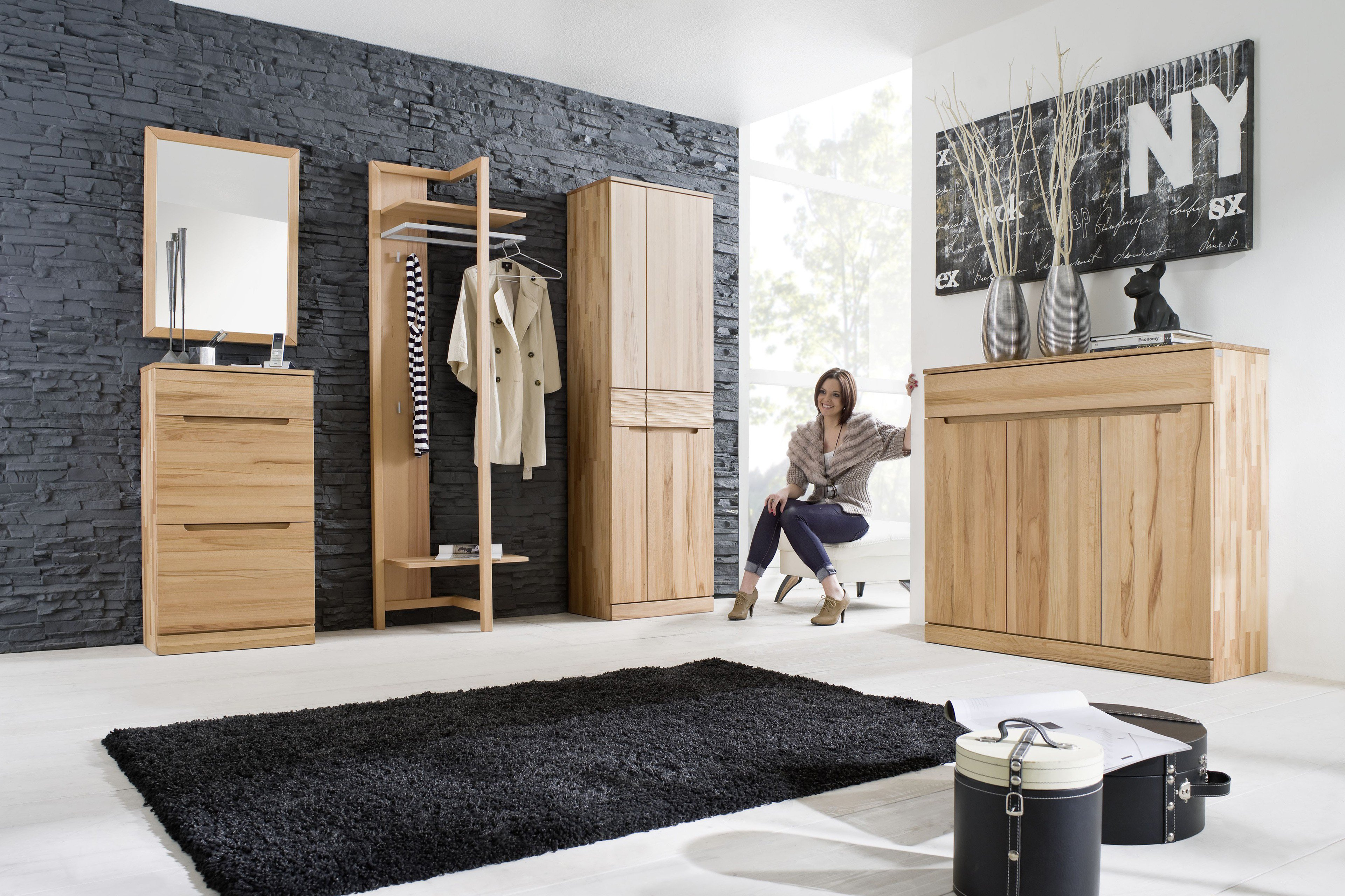 garderobe arcona aus massiver kernbuche von gradel m bel letz ihr online shop. Black Bedroom Furniture Sets. Home Design Ideas