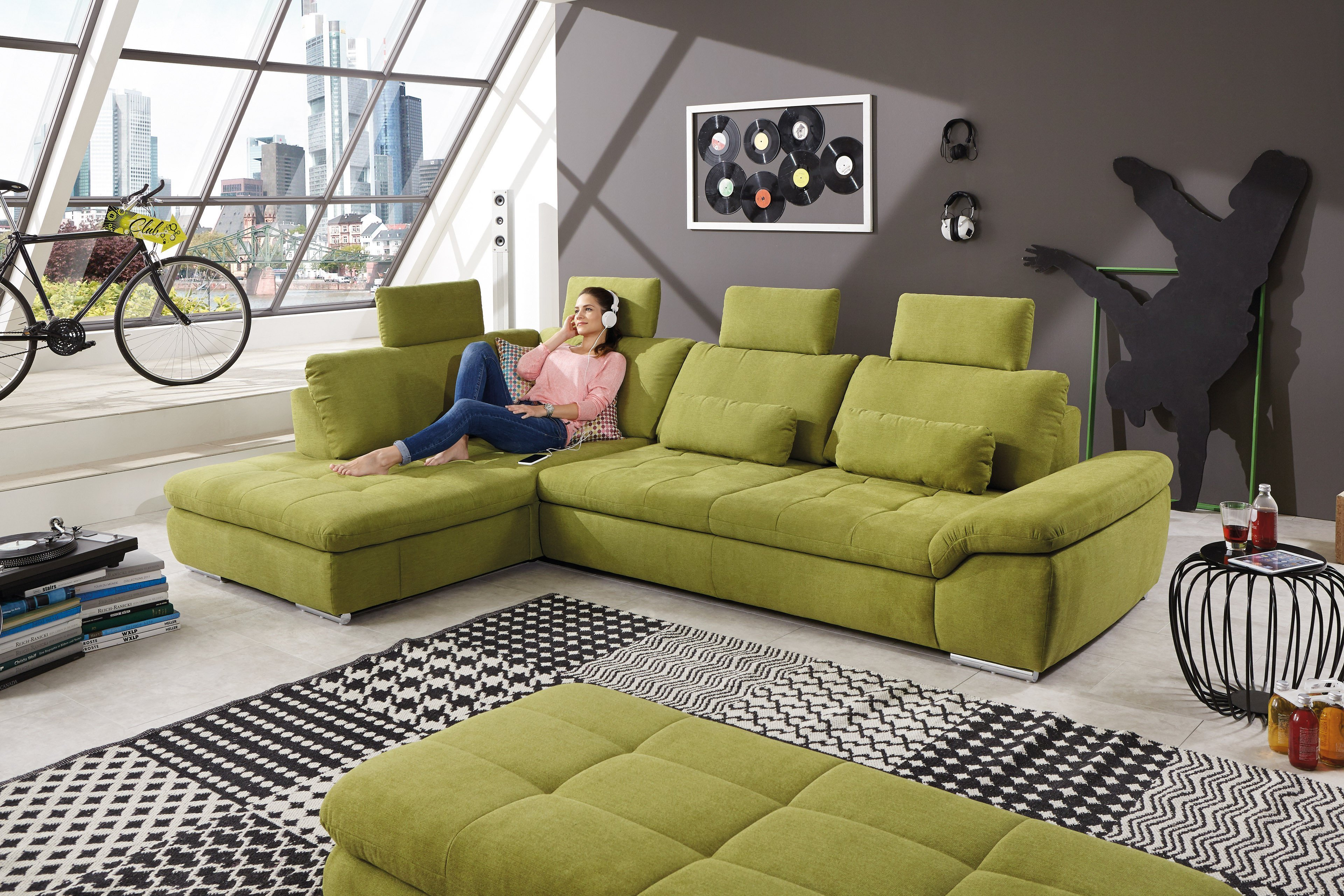 megapol ecksofa crazy cross in gr n m bel letz ihr. Black Bedroom Furniture Sets. Home Design Ideas