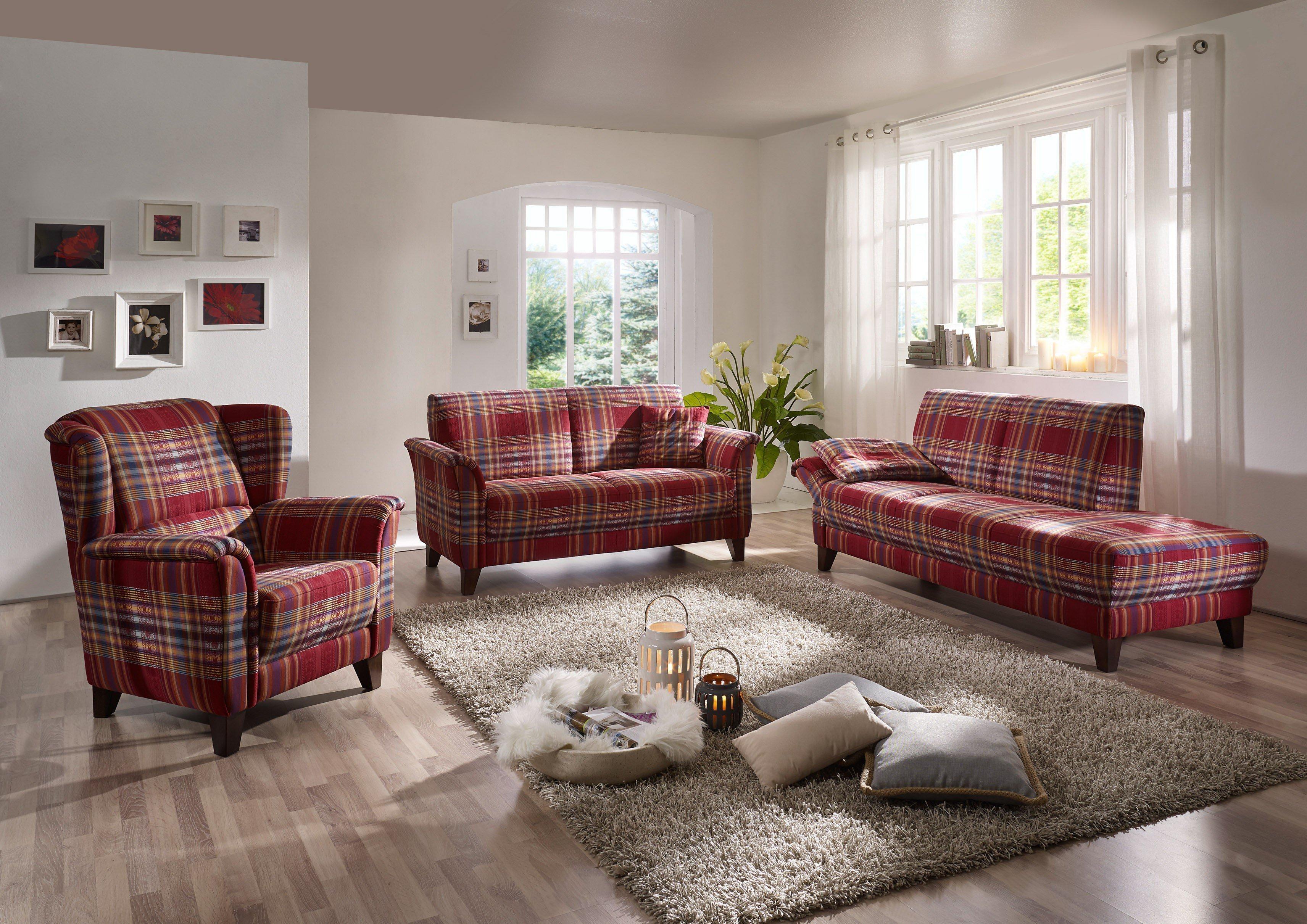 ponsel polstergruppe london classic rot kariert m bel. Black Bedroom Furniture Sets. Home Design Ideas