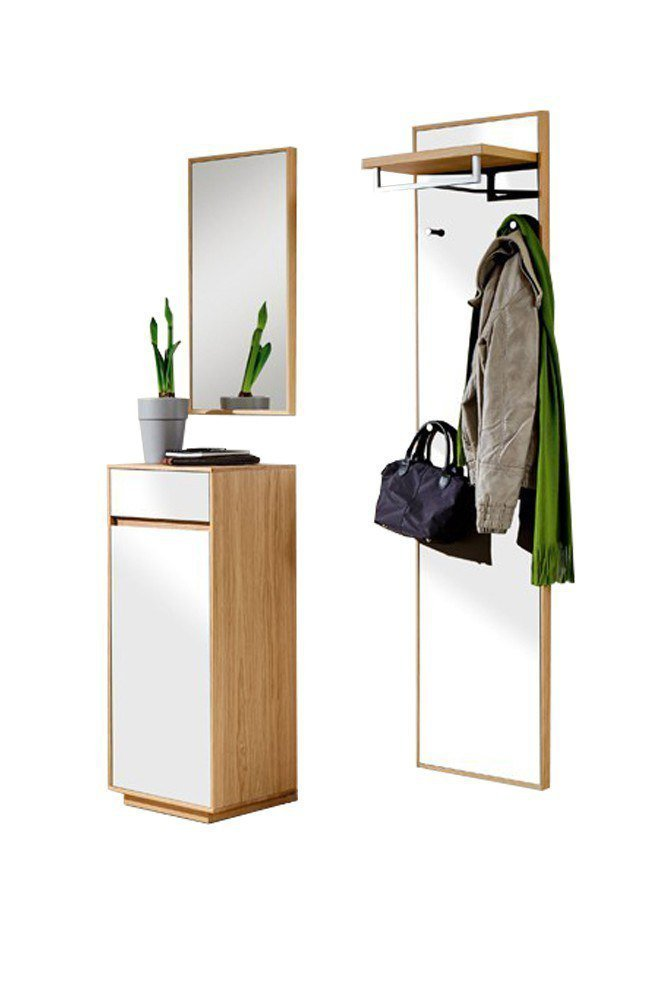 garderobe v100 aus eichen holz mit wei er lackfront von voss m bel m bel letz ihr online shop. Black Bedroom Furniture Sets. Home Design Ideas