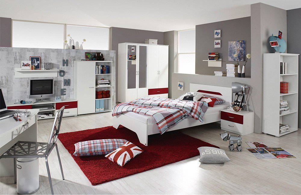 jugendzimmer set noosa in wei rot von rauch m bel. Black Bedroom Furniture Sets. Home Design Ideas
