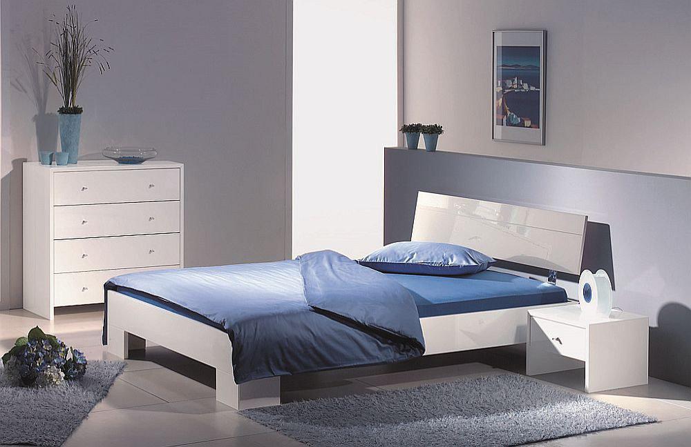 genua von Modular - Bett Hochglanz weiß