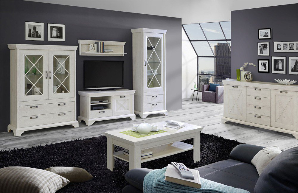 wohnwand kashmir pinia weiss von forte m bel letz ihr. Black Bedroom Furniture Sets. Home Design Ideas