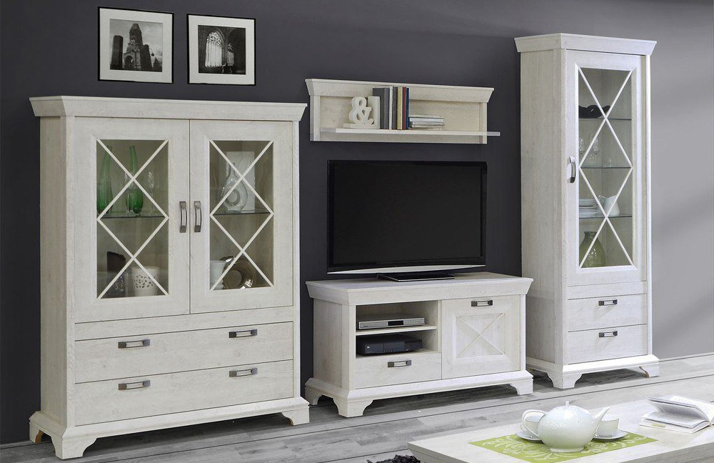 wohnwand kashmir pinia weiss von forte m bel letz ihr online shop. Black Bedroom Furniture Sets. Home Design Ideas