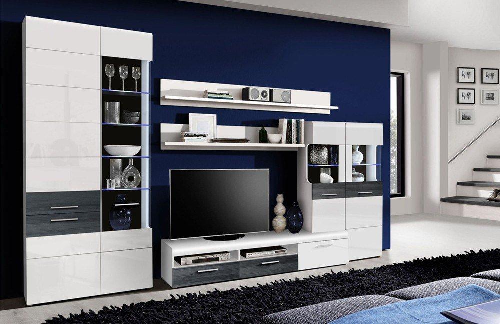 wohnwand cortino j37 wei schwarzeiche von forte m bel letz ihr online shop. Black Bedroom Furniture Sets. Home Design Ideas