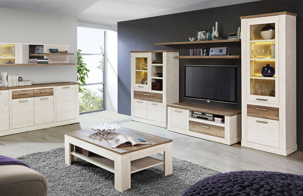 wohnwand duro pinia weiss von forte m bel letz ihr online shop. Black Bedroom Furniture Sets. Home Design Ideas