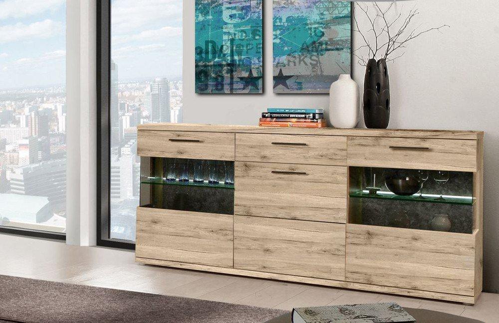 Wohnwand ivory von forte m bel letz ihr online shop for Wohnwand inklusive sideboard