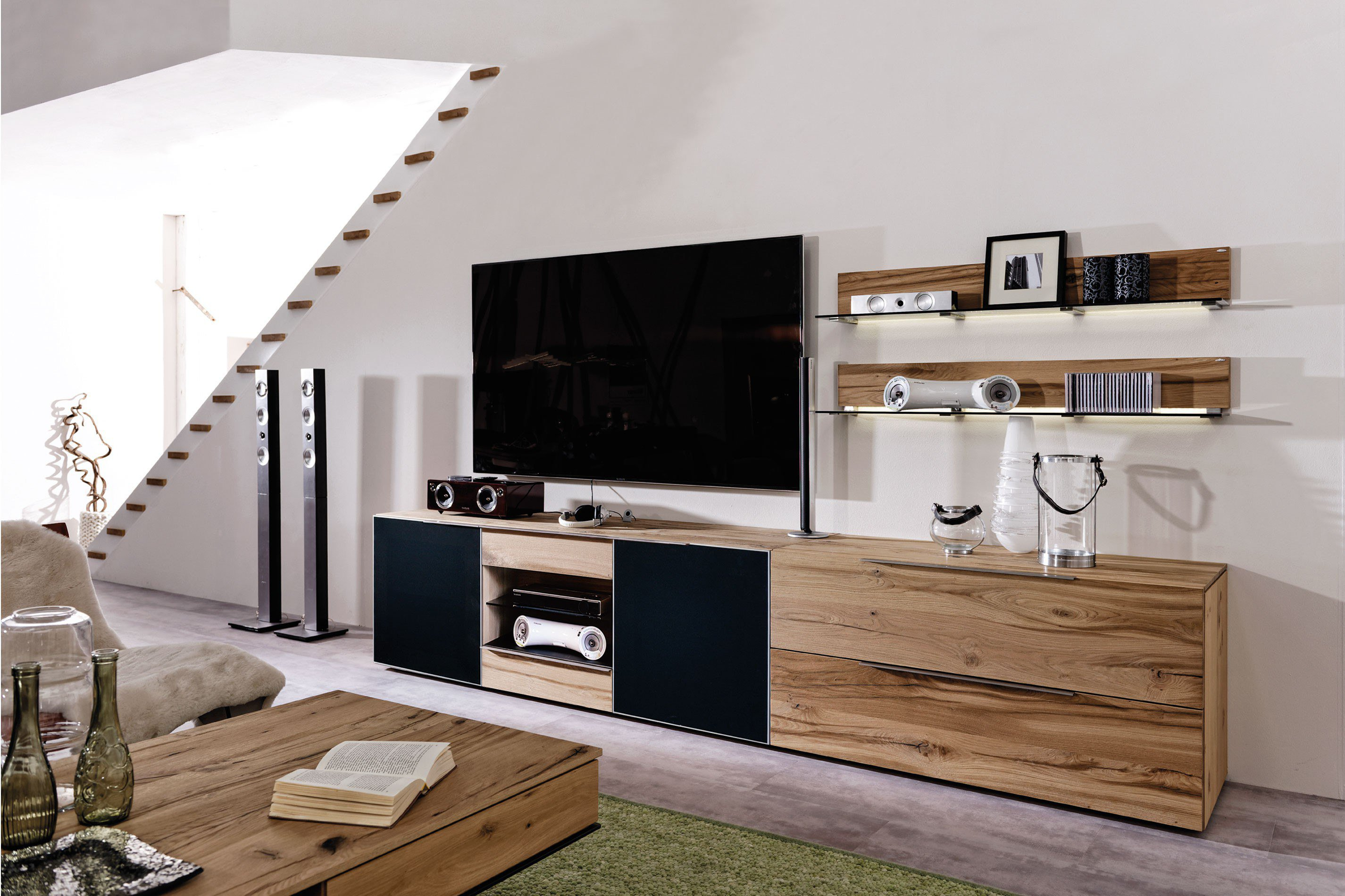 voglauer wohnwand v alpin eiche altholz akustikstoff. Black Bedroom Furniture Sets. Home Design Ideas