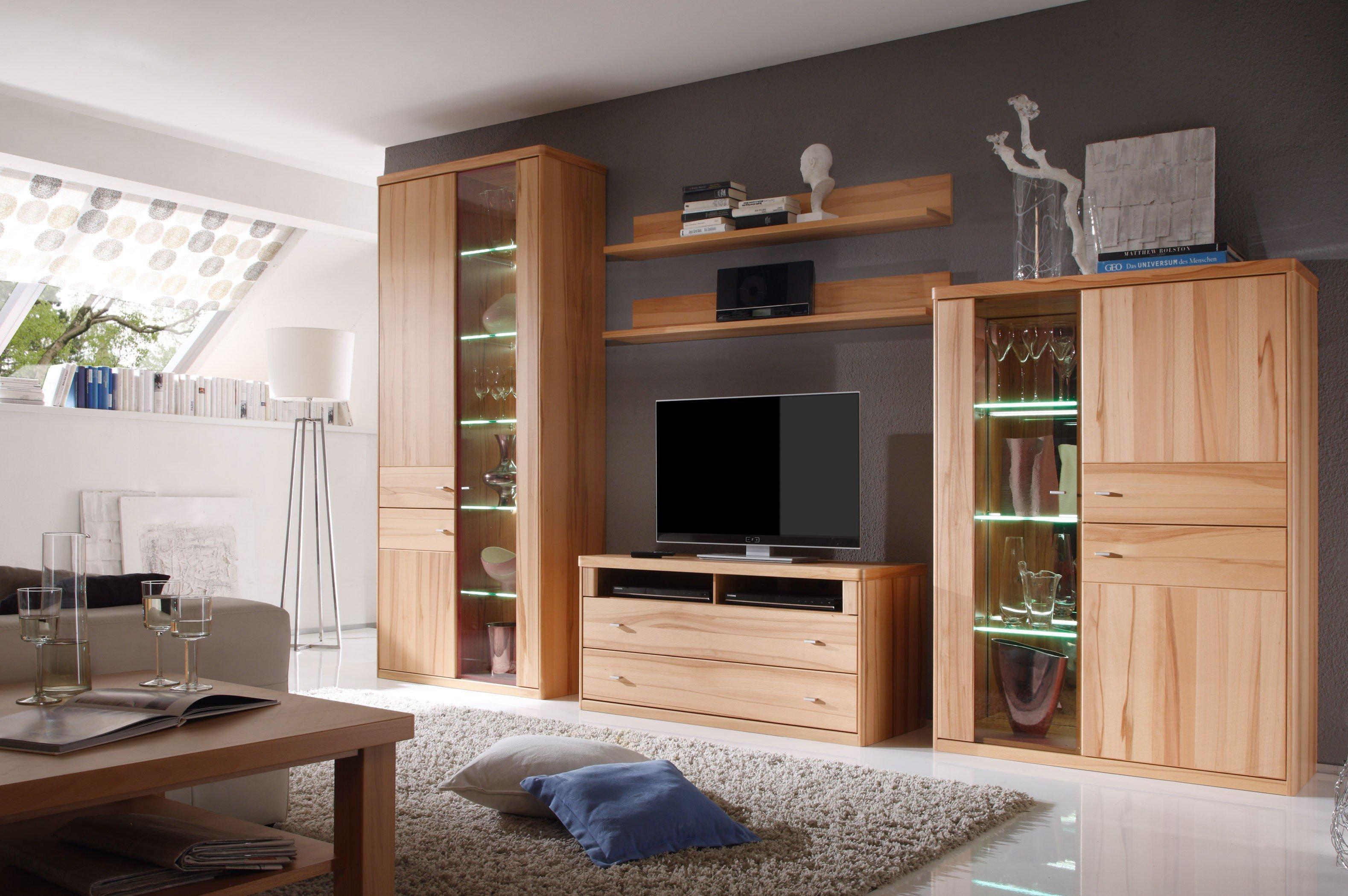 wehrsdorfer wohnwand andorra v 610 kernbuche m bel letz ihr online shop. Black Bedroom Furniture Sets. Home Design Ideas