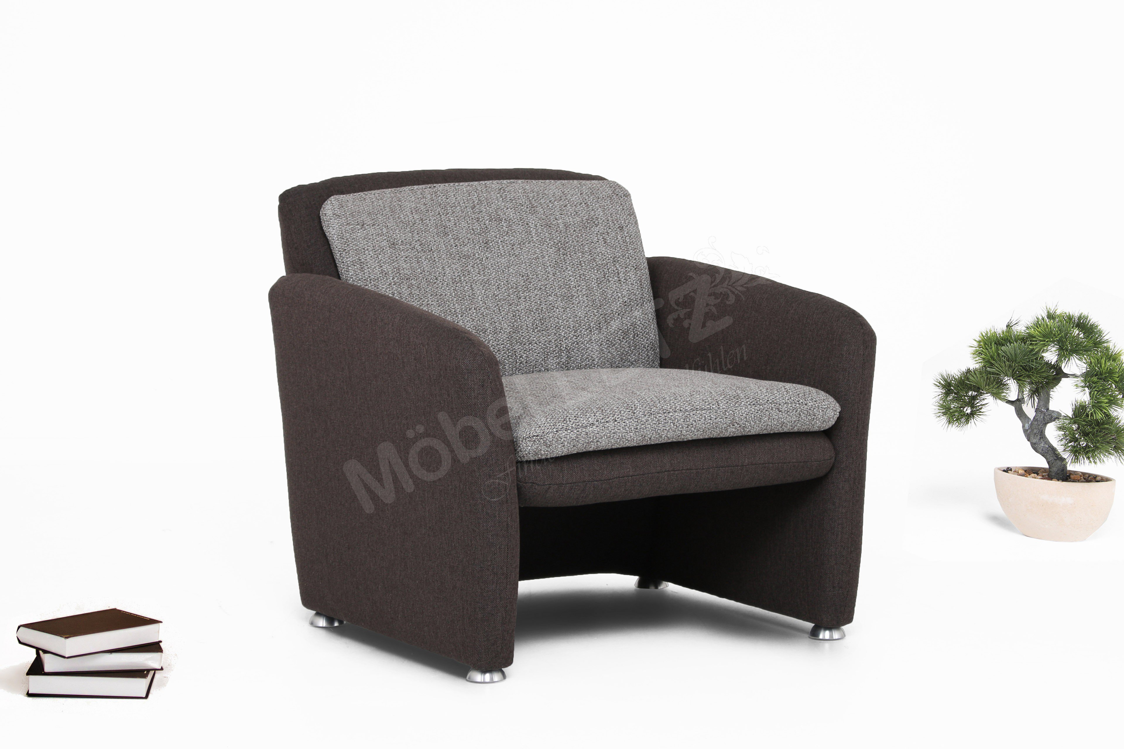 megapol enzo sessel in braun grau m bel letz ihr online shop. Black Bedroom Furniture Sets. Home Design Ideas