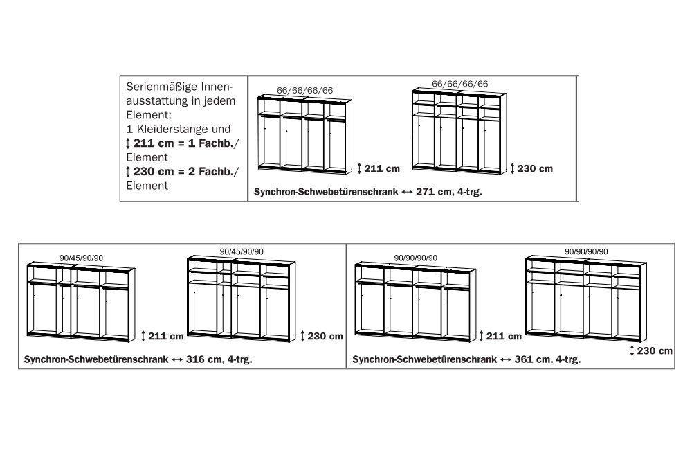Schwebetürenschrank grau eiche  Rauch Syncrono Dekor-Glas-Spiegel | Möbel Letz - Ihr Online-Shop