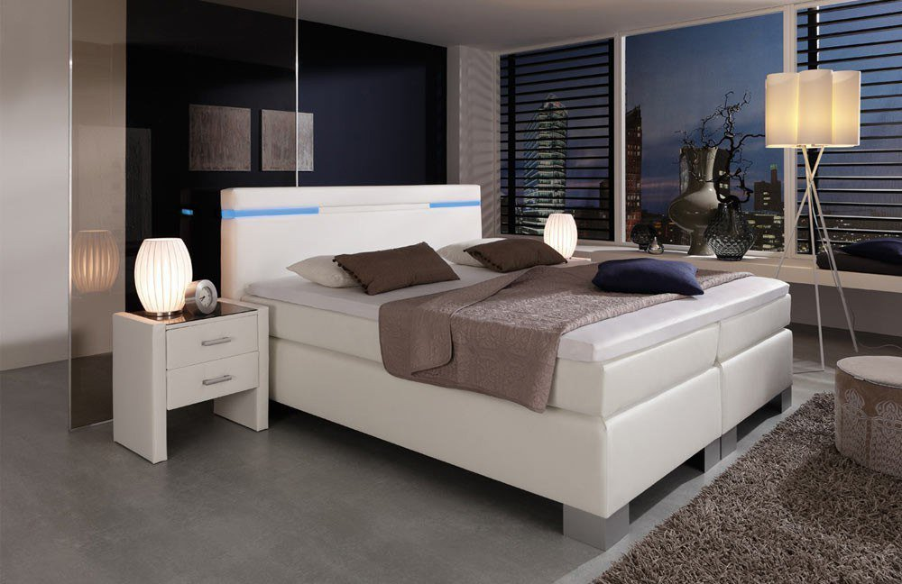 boxspringbett nightfall hapo schlafm bel wei mit farbwechsel beleuchtung am kopfteil m bel. Black Bedroom Furniture Sets. Home Design Ideas