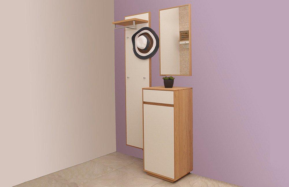 garderobe v100 in eichen holz lack wei von voss m bel letz ihr online shop. Black Bedroom Furniture Sets. Home Design Ideas