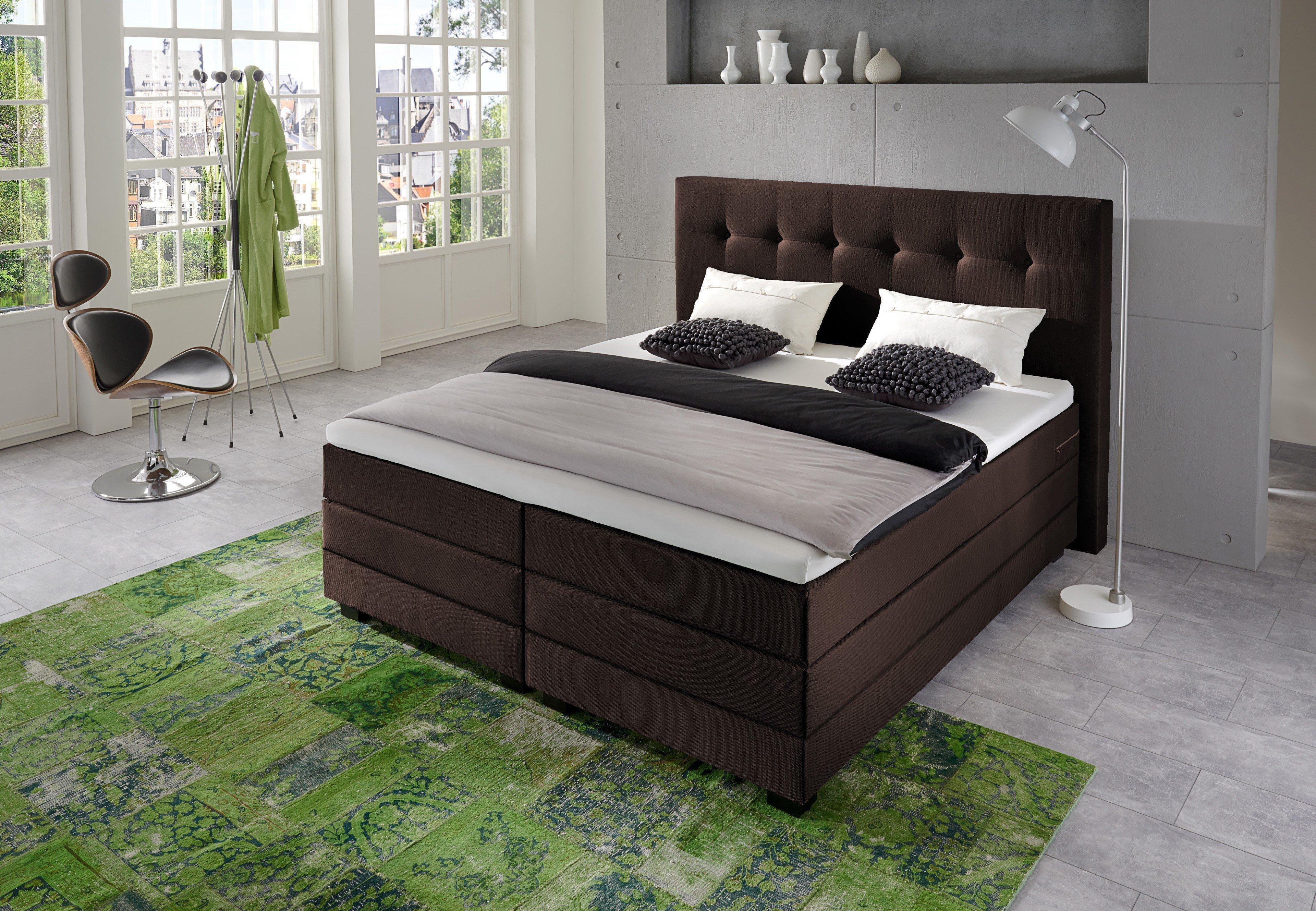 napco boxspringbett in braun mit steppung m bel letz ihr online shop. Black Bedroom Furniture Sets. Home Design Ideas