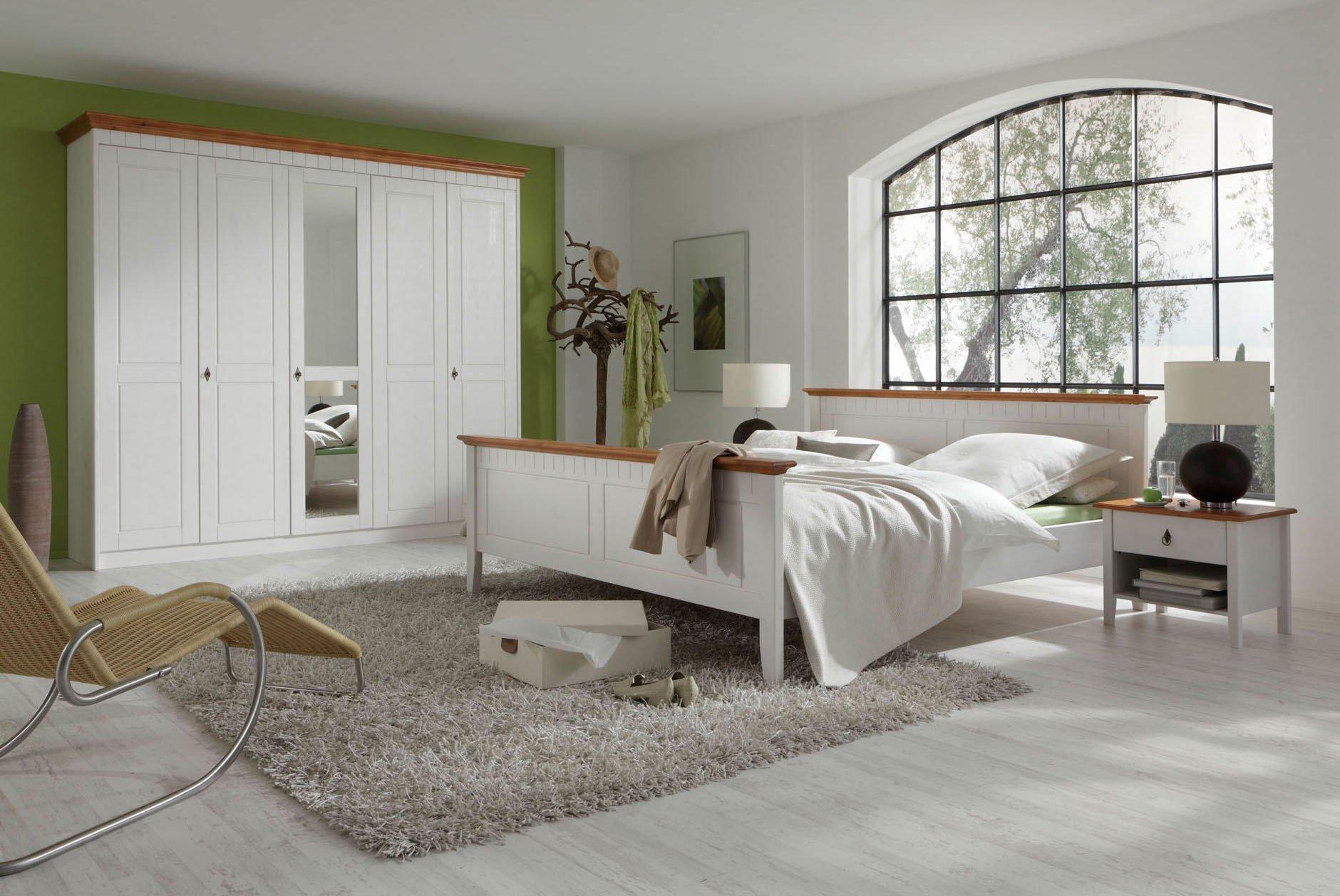 Schlafzimmer-Set Kiefer massiv mit braunen Absetzungen - Georgia ...