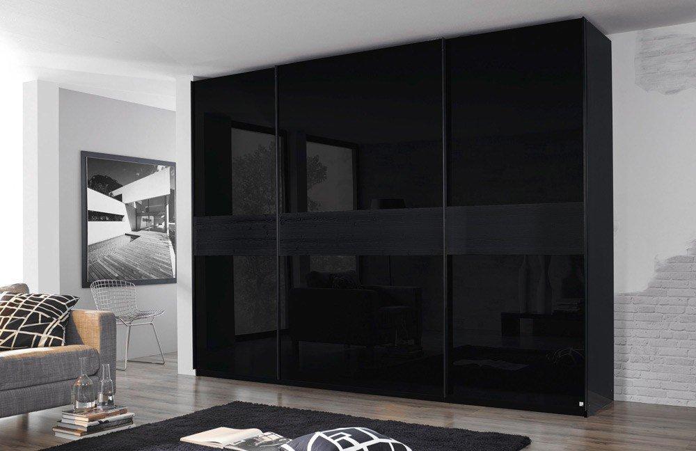 Schwebetürenschrank schwarz matt  Rauch Bayamo Akzent Strukturholz | Möbel Letz - Ihr Online-Shop