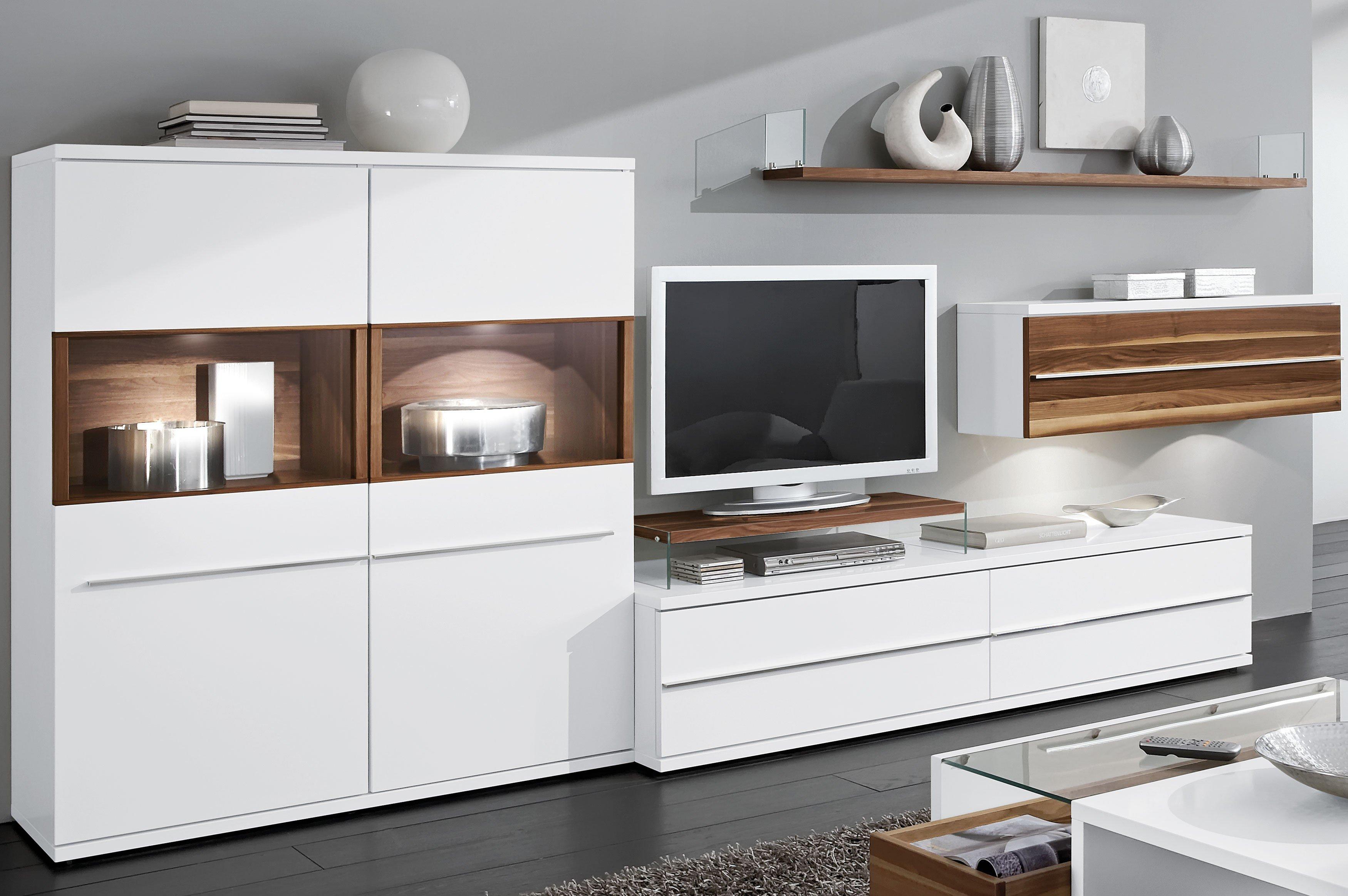 loddenkemper kito wohnwand 9777 wei caruba nuss m bel letz ihr online shop. Black Bedroom Furniture Sets. Home Design Ideas