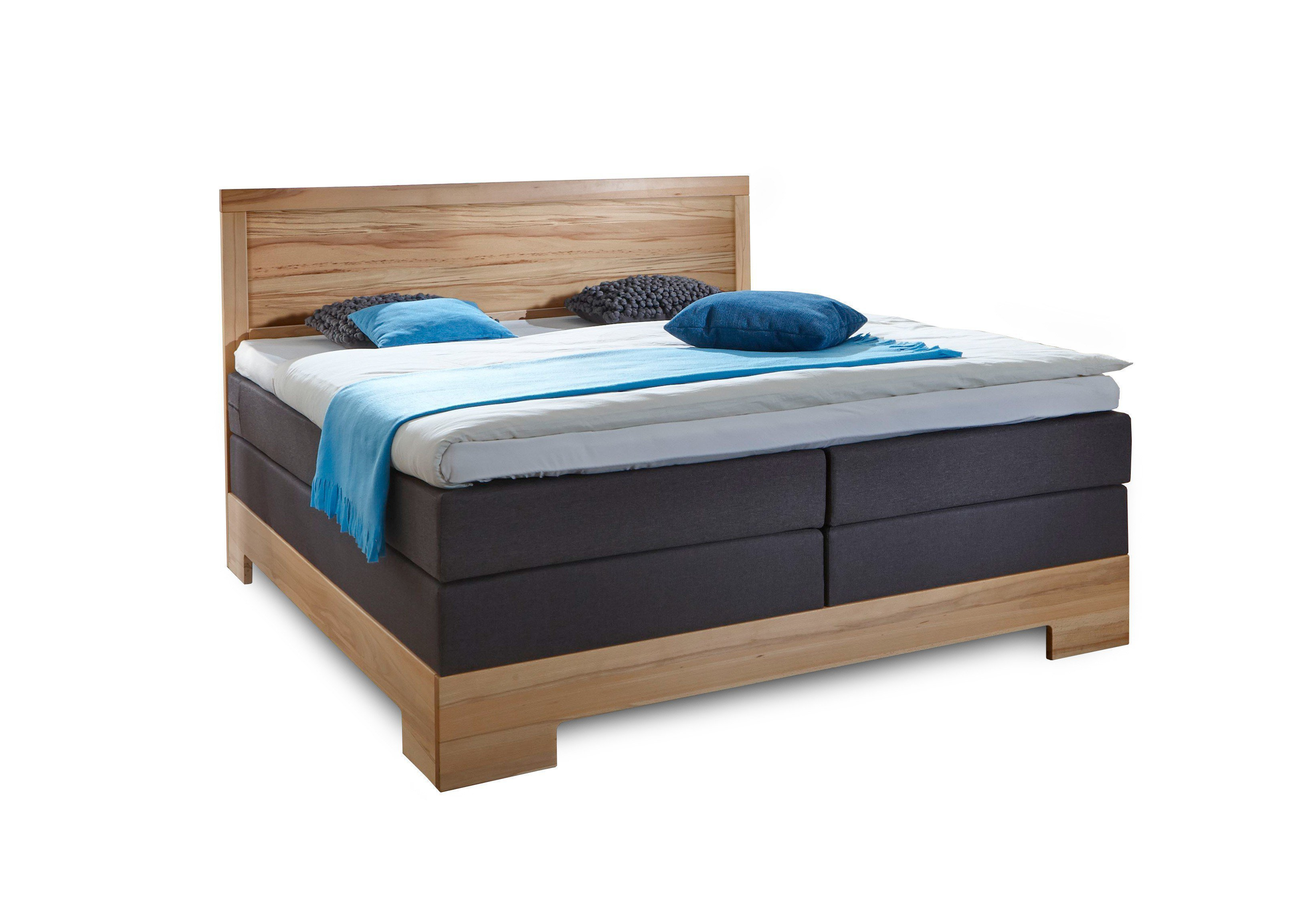 dico boxspringbett mit holzkopfteil in kernbuche ge lt. Black Bedroom Furniture Sets. Home Design Ideas