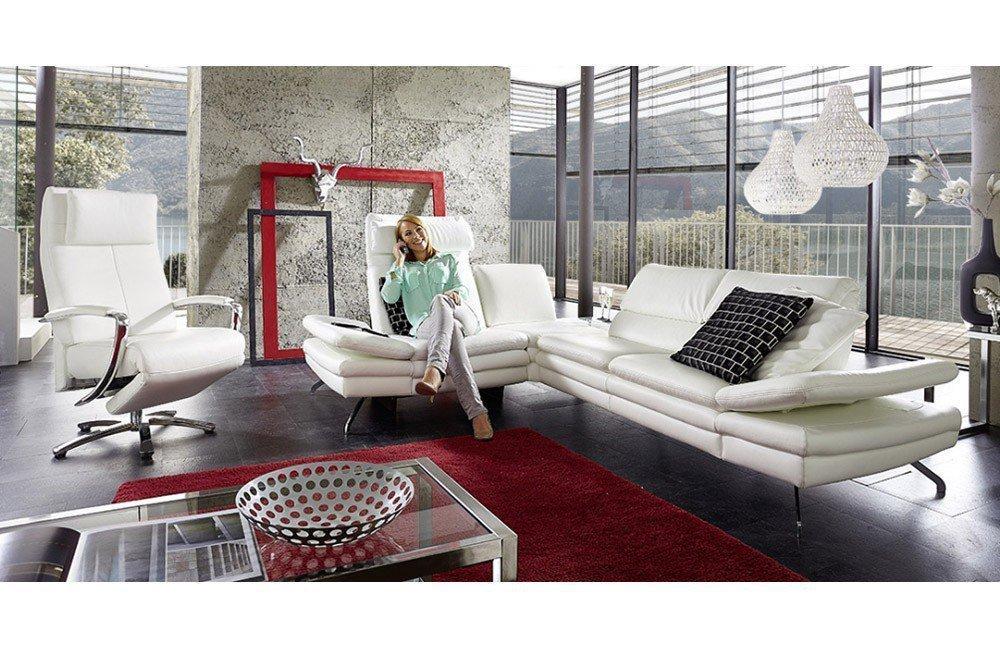 PM Oelsa Ledersofa San Diego in Weiß | Möbel Letz - Ihr Online-Shop