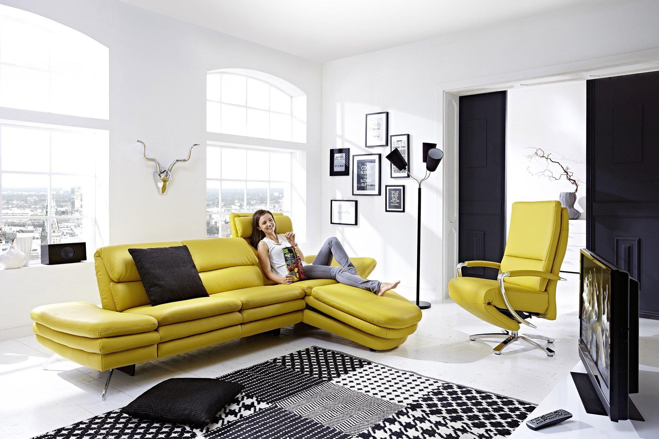 PM Oelsa San Diego Ledergarnitur in Gelb | Möbel Letz - Ihr Online-Shop