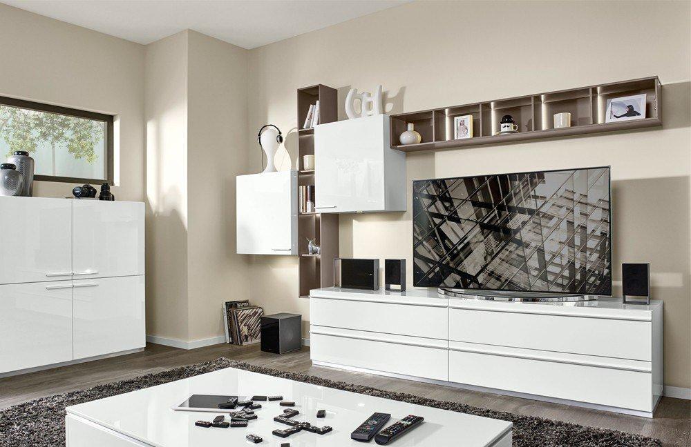 Wohnwand design grau  Loddenkemper Wohnwand Media 5000 V9753 Weiß/ Cubanit Grau | Möbel ...
