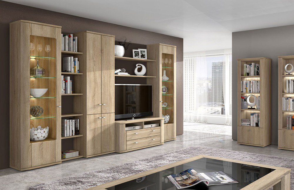 wohnwand sonoma eiche hell die neuesten innenarchitekturideen. Black Bedroom Furniture Sets. Home Design Ideas