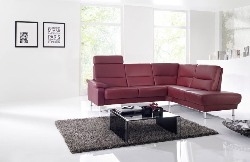 Arco Augsburg 7200 Ledersofa rot M?bel Letz - Ihr Online-Shop