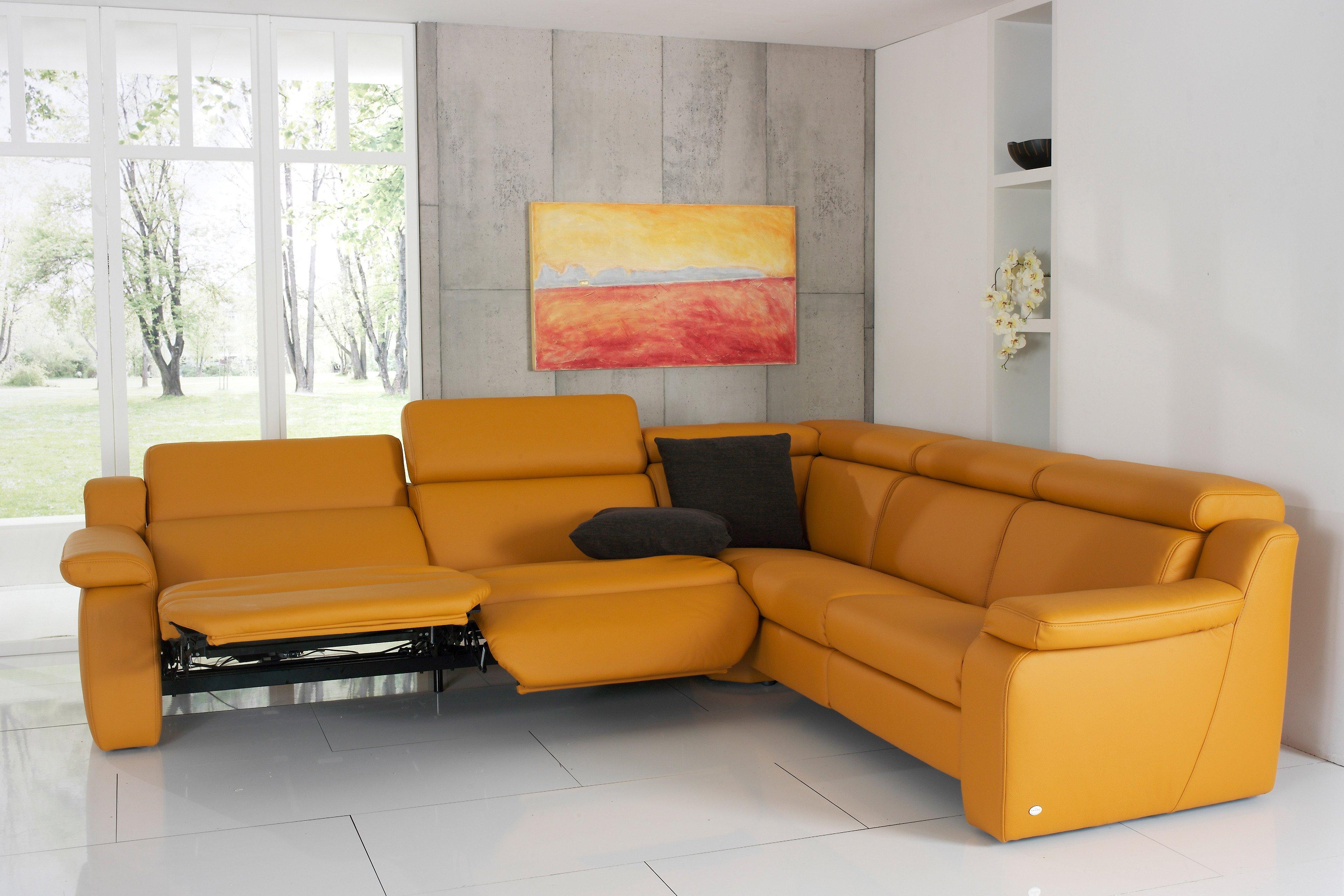 himolla polsterm bel 1302 ledersofa in orange m bel letz. Black Bedroom Furniture Sets. Home Design Ideas