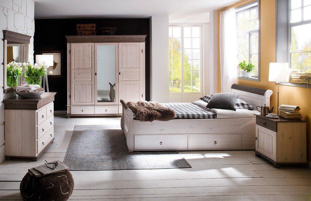 Massivholz-schlafzimmer Oslo Mit Landhaus-atmosphäre Von Euro ... Schlafzimmer Oslo