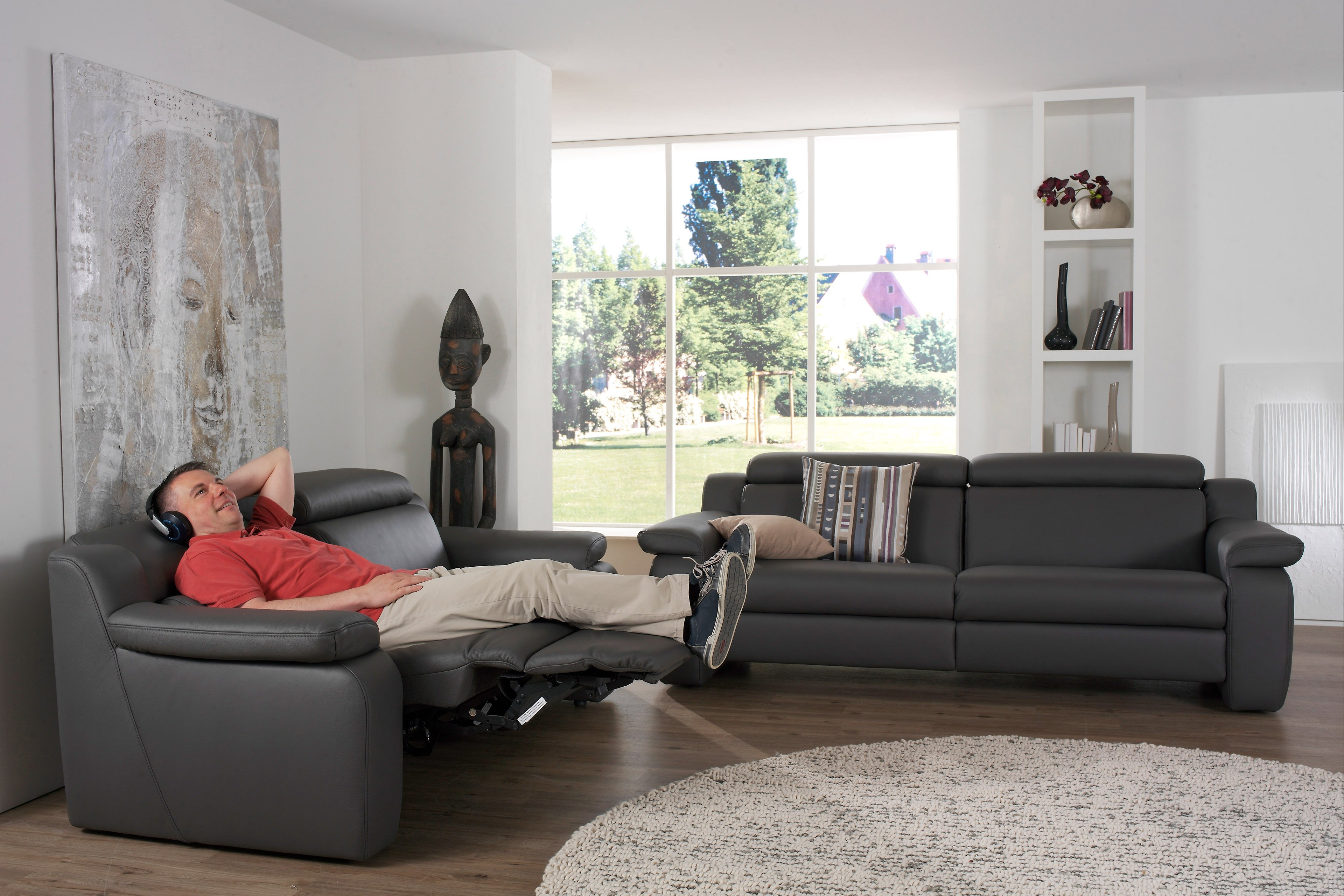 himolla polsterm bel 1302 ledersofa schwarz m bel letz ihr online shop. Black Bedroom Furniture Sets. Home Design Ideas