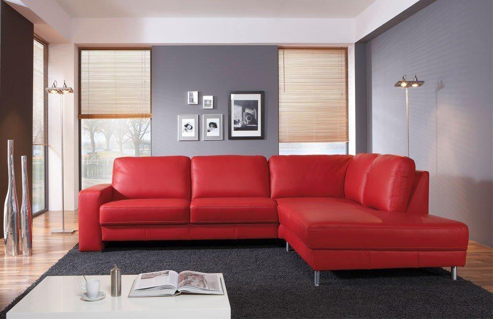 carina casaro leder ecksofa im kr ftigen rot m bel letz. Black Bedroom Furniture Sets. Home Design Ideas