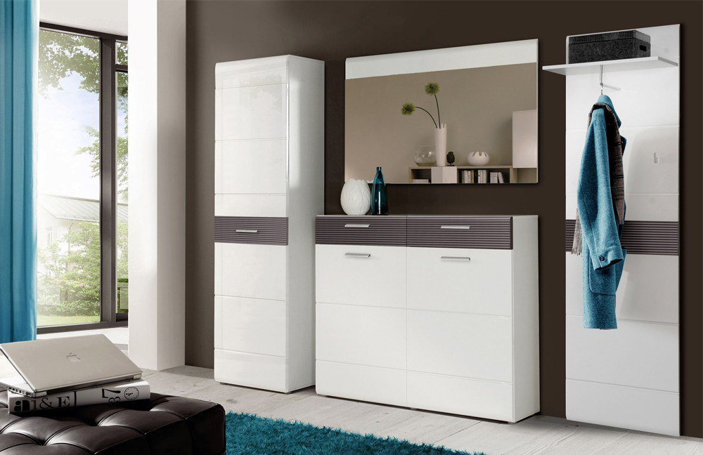 garderobe ottawa wei grau matt von forte m bel letz ihr online shop. Black Bedroom Furniture Sets. Home Design Ideas