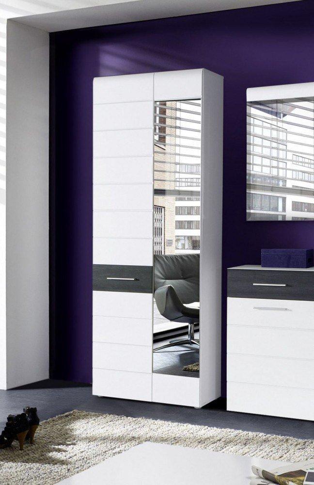 garderobe polar wei hochglanz eiche schwarz von forte m bel letz ihr online shop. Black Bedroom Furniture Sets. Home Design Ideas