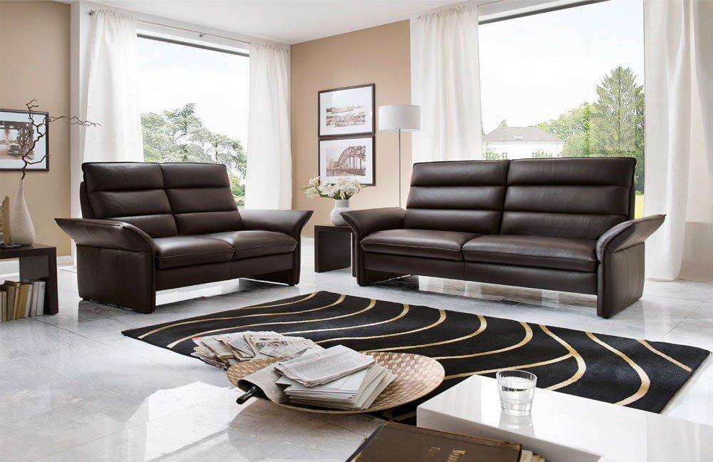 carina 3 2 1 ledergarnitur diva dunkelbraun m bel letz ihr online shop. Black Bedroom Furniture Sets. Home Design Ideas