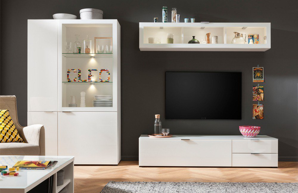 cs schmalm bel wohnwand cleo wei m bel letz ihr. Black Bedroom Furniture Sets. Home Design Ideas