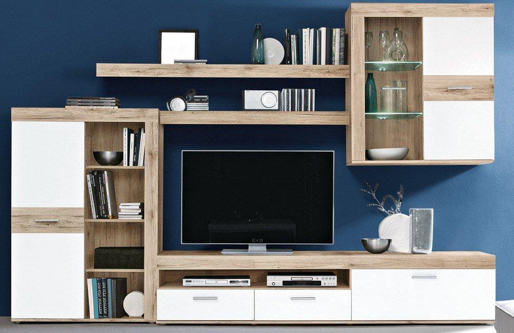 wohnwand zumba sandeiche wei von forte m bel letz. Black Bedroom Furniture Sets. Home Design Ideas