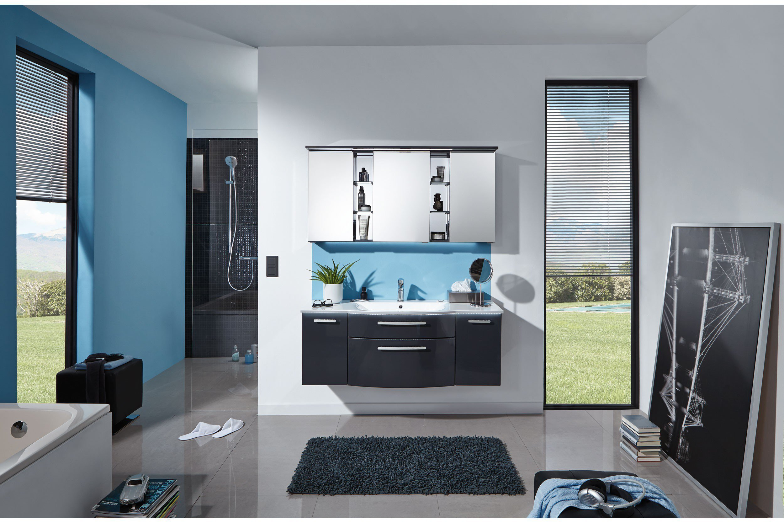 badezimmer linea anthrazit hochglanz von puris m bel letz ihr online shop. Black Bedroom Furniture Sets. Home Design Ideas