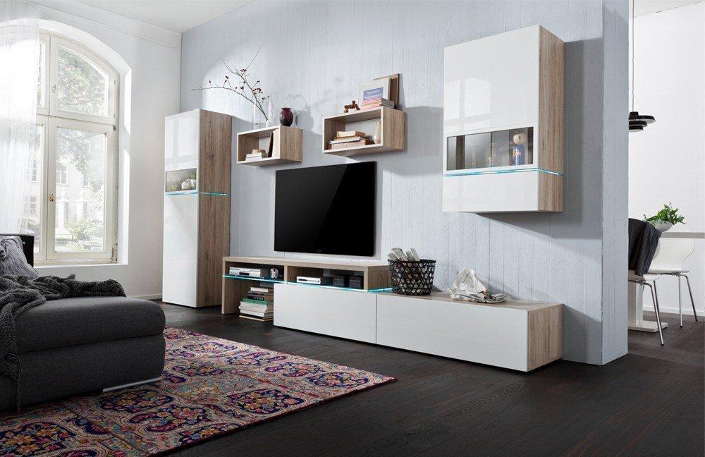 wohnwand colour art 009 sanremo hell wei hochglanz von cs schmalm bel m bel letz ihr. Black Bedroom Furniture Sets. Home Design Ideas